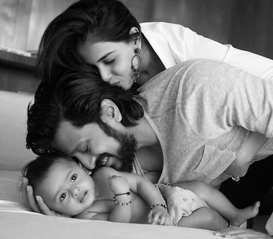 Genelia and Riteish Deshmukh with their son Riaan.